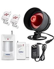 KERUI Home Alarm System Indoor Outdoor Weather-Proof Strobe Siren Wireless Door Alarm Sensors Motion Sensor Alarm with Remote Control More DIY, Home Hotel Garage Shop Burglar Door Alarm System