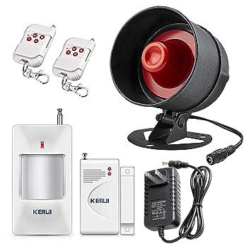 Kerui Home Alarm System Indoor Outdoor Weather Proof Strobe Siren Wireless Door Alarm Sensors Motion Sensor Alarm With Remote Control More Diy Home