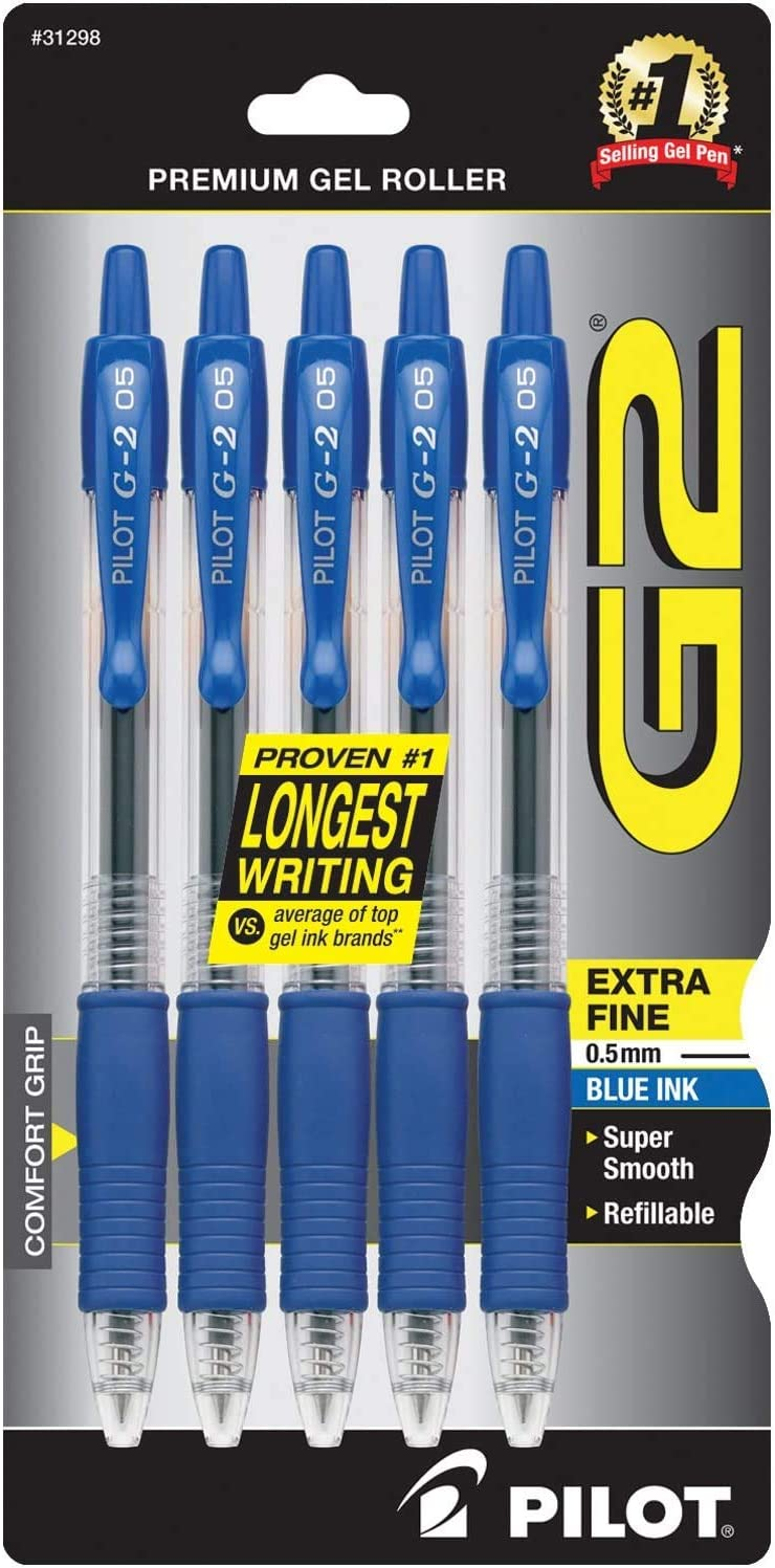 Blue Ink PILOT G2 Premium Refillable /& Retractable Rolling Ball Gel Pens 5-Pack 1 31298 Extra Fine Point