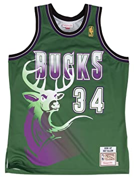 Camiseta de punto de Ray Allen Milwaukee Bucks de Mitchell & Ness de Road NBA