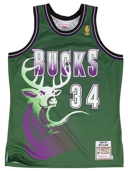 e243f1750 Ray Allen Milwaukee Bucks Mitchell & Ness Authentic 1996 Road NBA Jersey