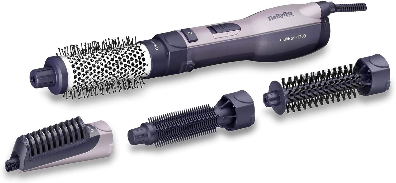 BaByliss AS121E - Cepillo de aire moldeador de pelo con 4 cabezales, 1200 W secado rápido, función iónica, 3 velocidades y aire frío, seca, peina, moldea y alisa