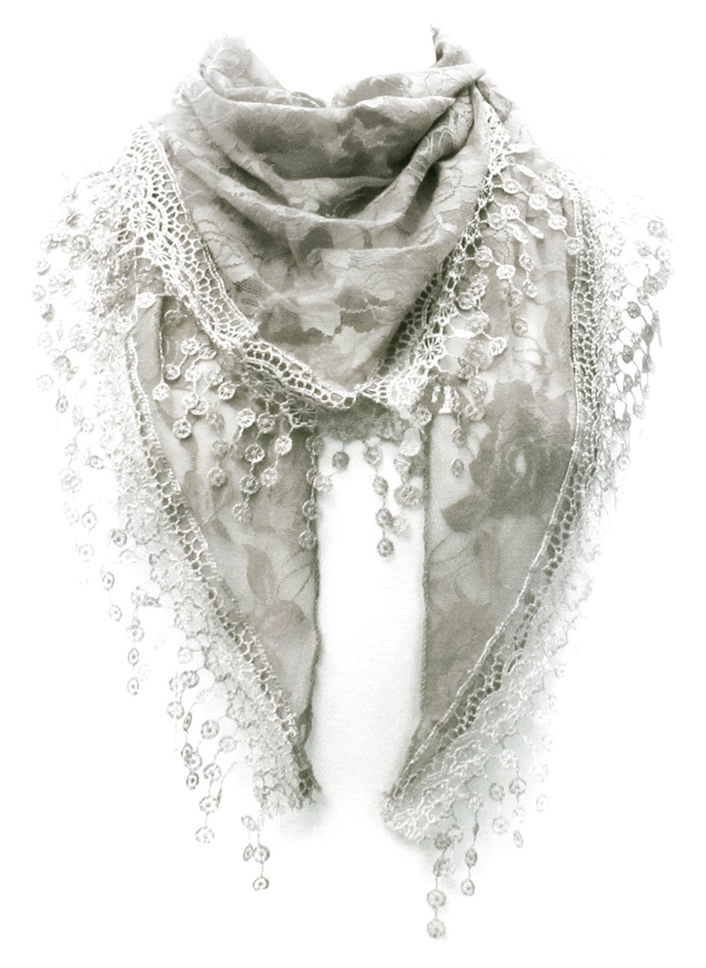 LL Womens Gray Triangle Head Scarf Rose Lace Scarf with Flower Tassels Church