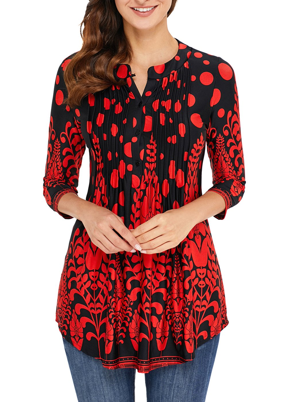 Aincrso Women Floral Tunic with 3/4 Sleeves - Long Casual Floral Shirt Blouse with Round Neck - Buttons up Top Shirt Large Red