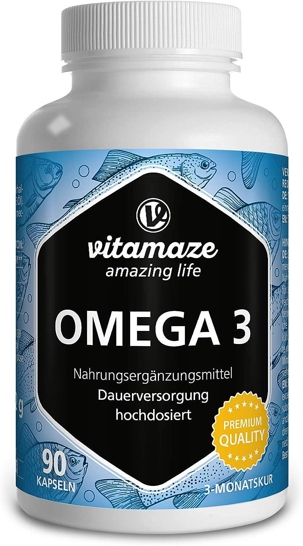 Vitamaze® Omega 3 1000 mg por Capsula, Puro Aceite de Pescado con 400 mg (40%) EPA y 300 mg (30%) de DHA por Cápsula para 3 Meses, FOS Certificado, ...
