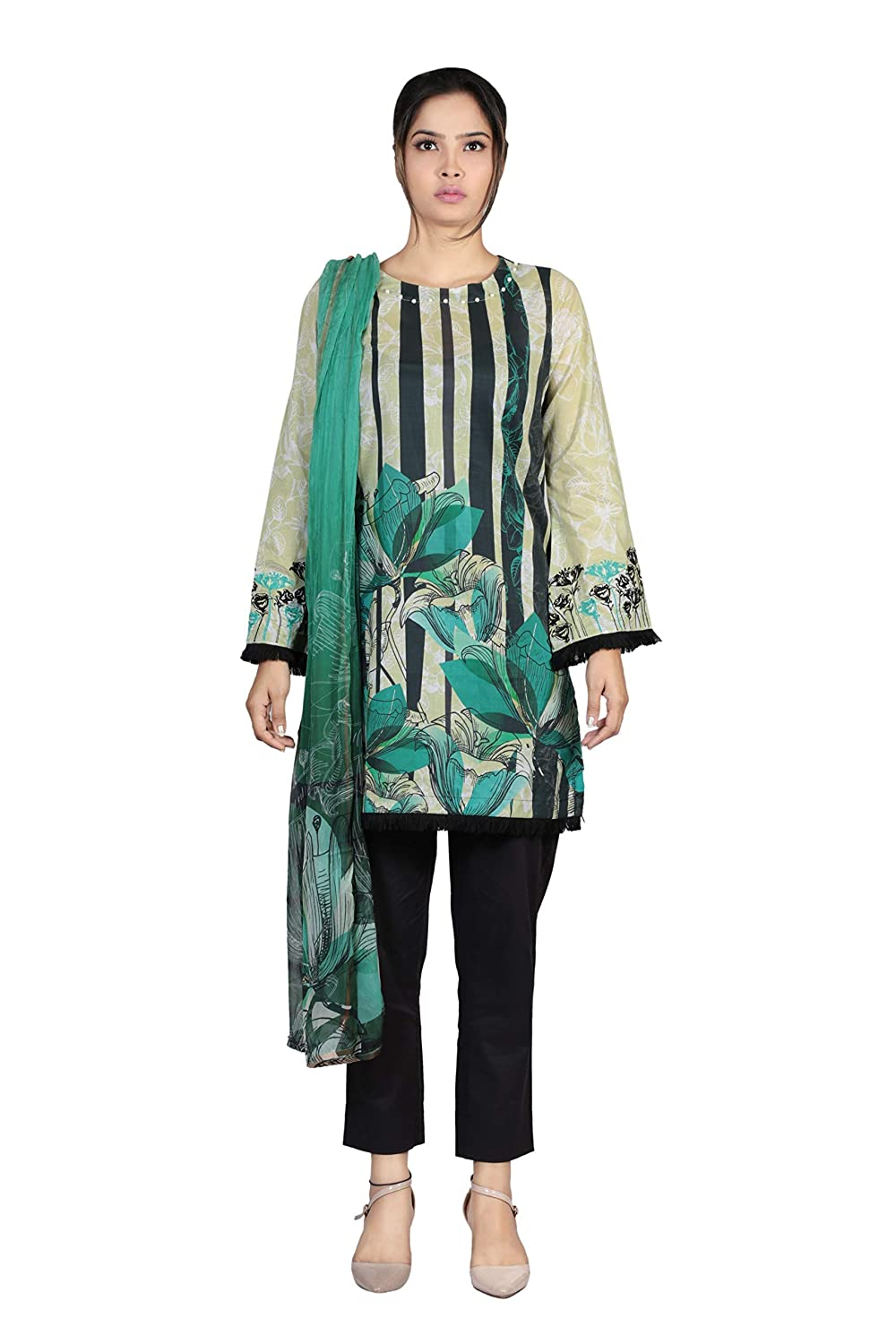 Alpine Green YELLOW Women Salwar Suit Set Salwar Kameez Readymade Kurti for Women Tunic Top Kurta Set