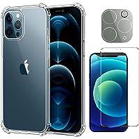 NDOOL Funda para iPhone 12 Pro MAX, 3 en 1 Cristal Templado Protector de Pantalla + Mica de Lente, Ultra Fina Silicona…