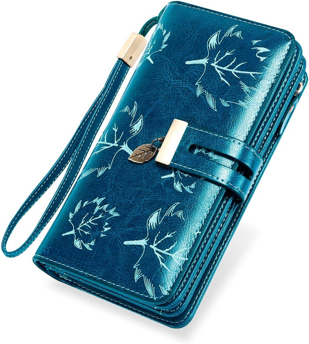 LUROON Carteras Mujer Piel, Monederos Mujer Cuero Gran Capacidad con 24 Ranuras para Tarjetas Bloqueo RFID Billeteras Mujer de Elegante y Moda Billetera Larga Mujercon Cremallera (Azul)