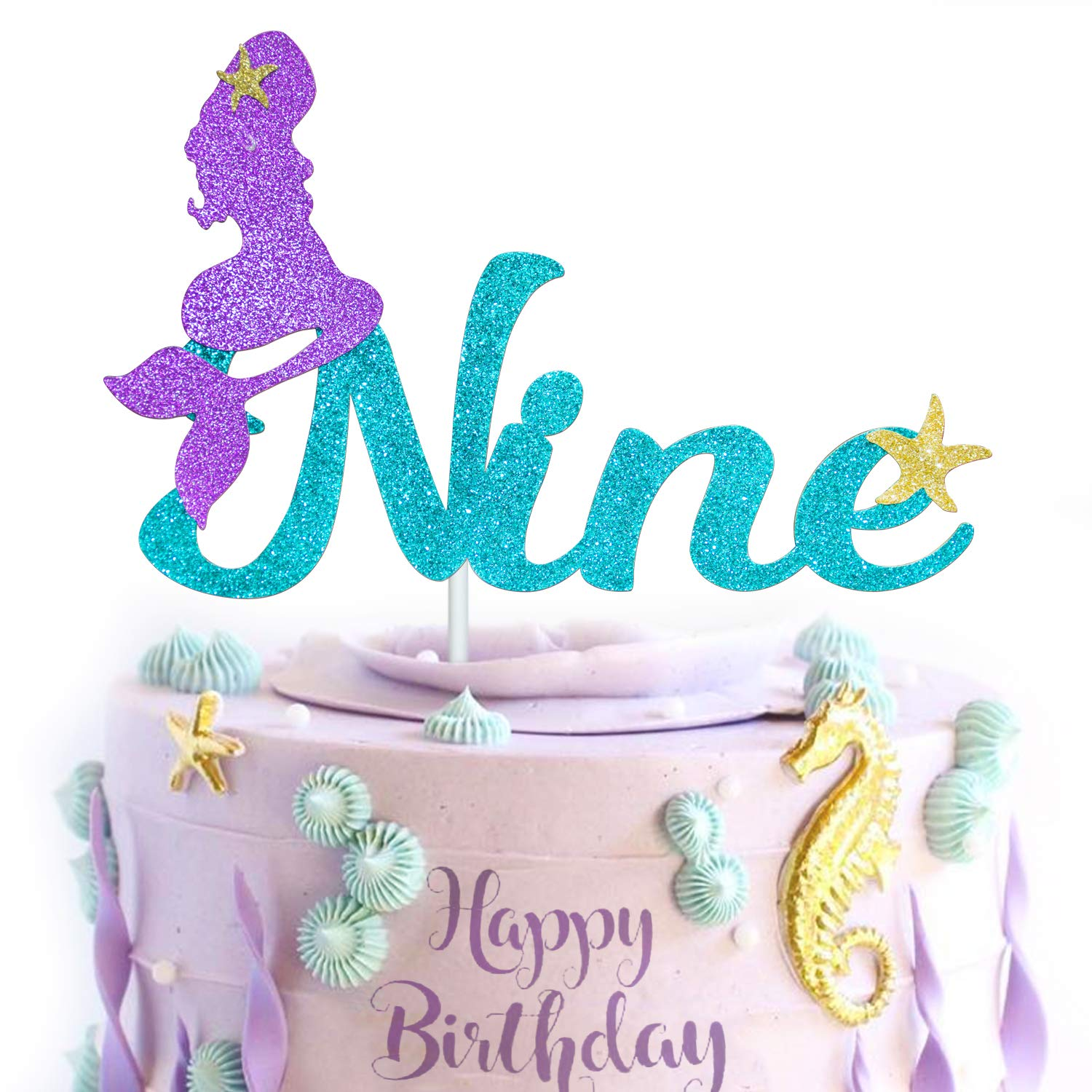 Under the Sea Cake Topper Siren Party Mermaid Party Glitter Mermaid Tail Topper Glitter Mermaid Tail Happy 1st Birthday Cake Topper