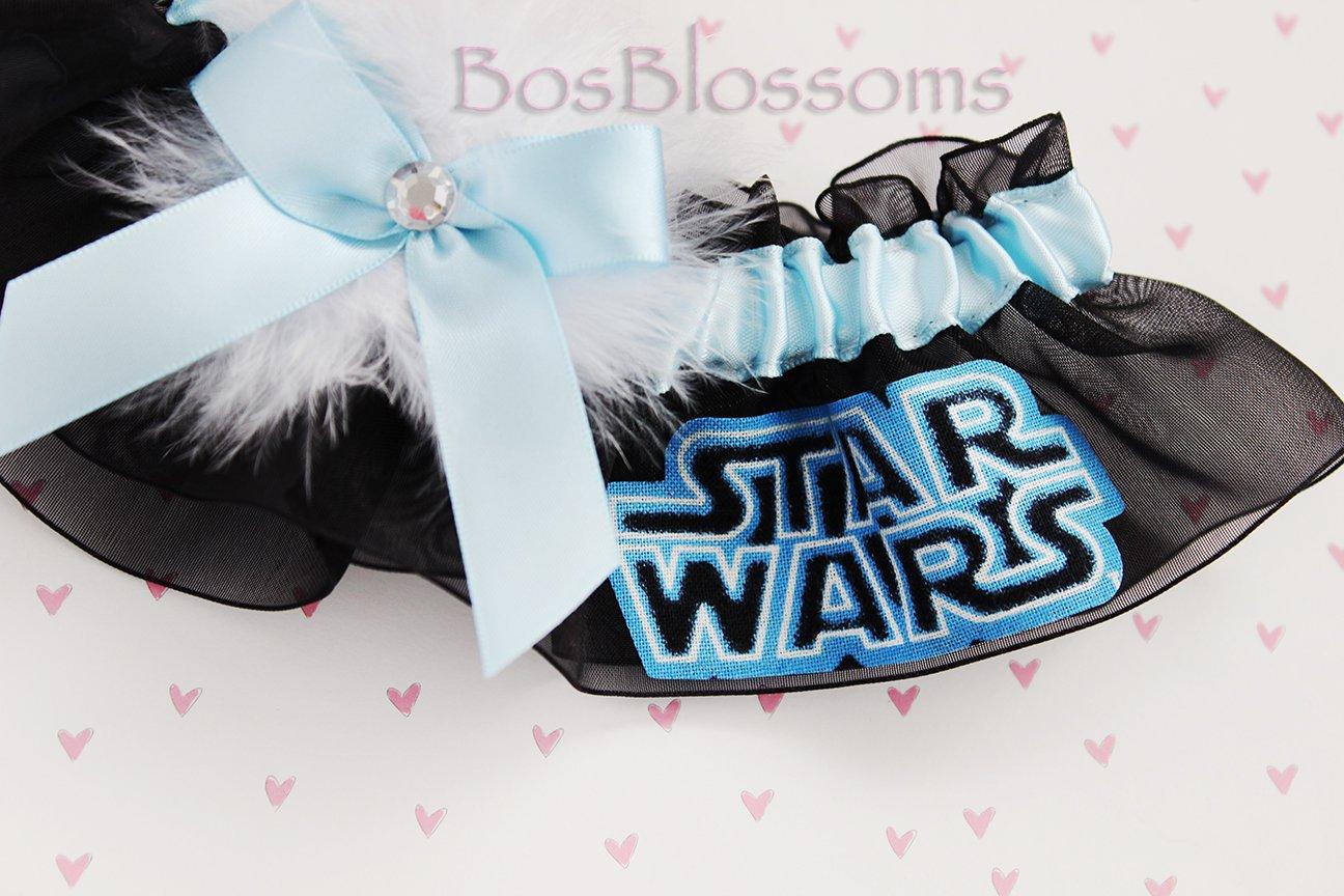 Custom sizing - Star Wars fabric handmade on black sheer organza into keepsake wedding bridal garter - Light Blue garter with white marabou puff