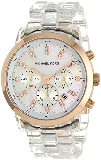 Amazon.com: Michael Kors Womens MK5394 Showstopper Chronograph Clear Watch: Michael Kors: Watches