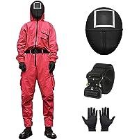 Squid Game Jumpsuit Kostuum, Unisex Squid Man kostuum Set, Squid Masked Man Cosplay Pak, Suit+ Riem+ Handschoenen+ Mask…