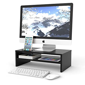 amazon com 1homefurnit universal wood monitor stands speaker tv pc rh amazon com  computer monitor stands for desk