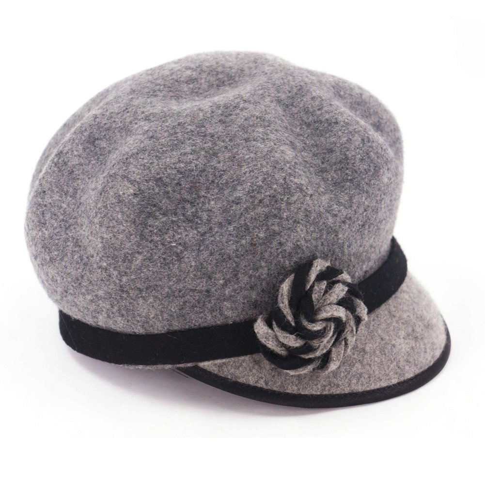 Koola's Women's Berets Wool Hats Peak Cap Vintage Dark Grey