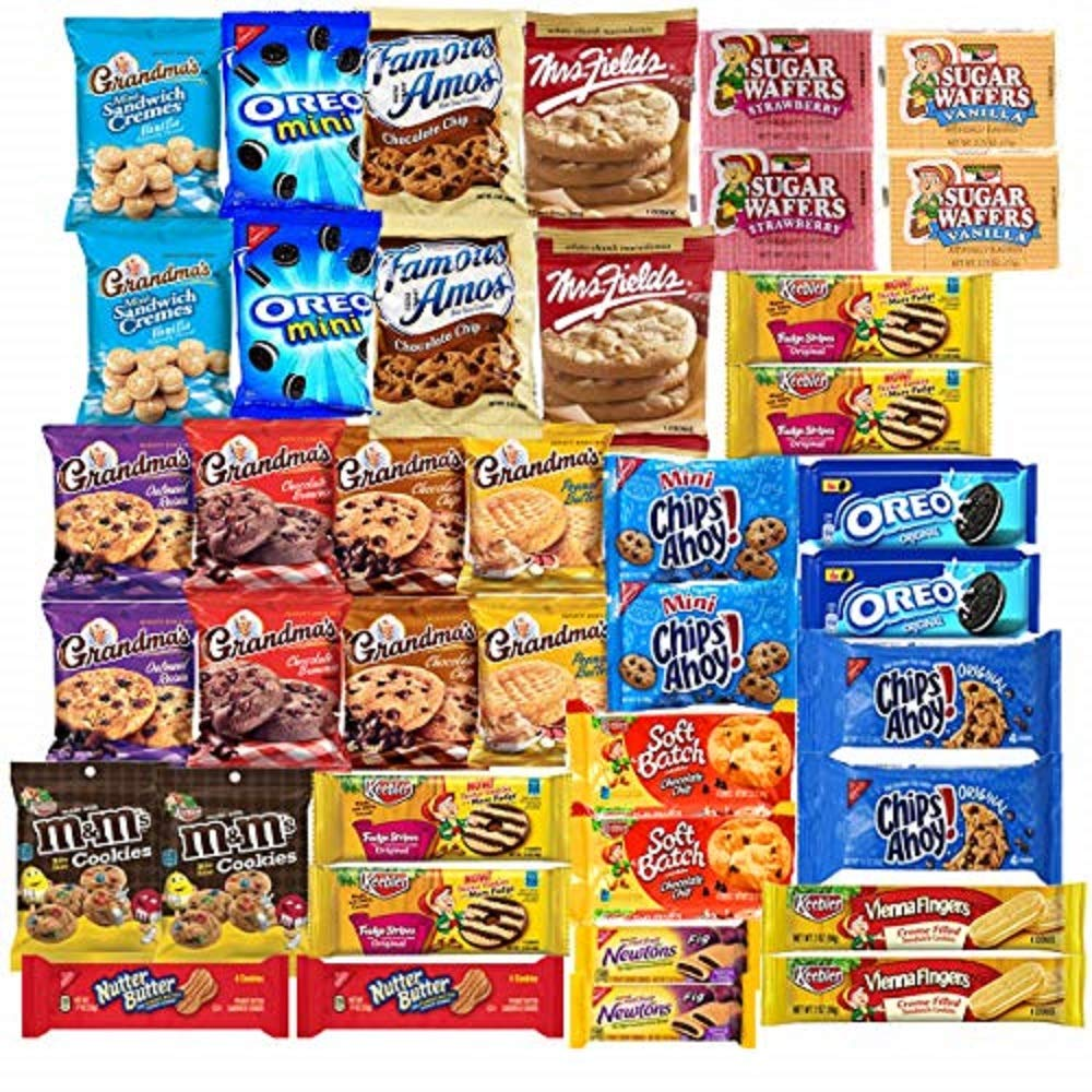 Cookies Variety Pack Individually Wrapped Assortment Including: Oreos, Keebler, Grandma's Cookies, Chips Ahoy and Much More of your Favorite Cookies- 40 Count