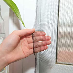 Flyzzz DIY Self-Adhesive Window Screen Netting Mesh Curtain, 100X150cm (Approach 39.37x59.05 Inches), with Hook and Sticky Tape, Fitted to Multiple Windows (5 Pack, Black)