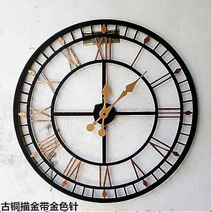 MNMKJH,Continental, números romanos, reloj de pared grande, país americano retro,