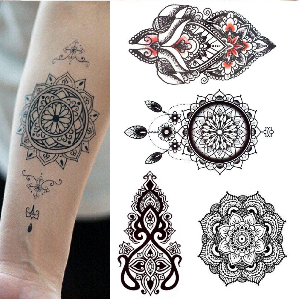 5 Tatouages Temporaires Rosace Mandala Attrape Rêve Pour Homme Et Femme Tatouage éphémère Avant Bras Poignet Jambe Mollet Nuque 15 X 21 Cm