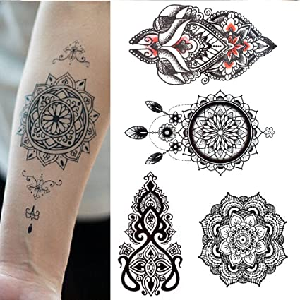 5 Tatouages Temporaires Rosace Mandala Attrape Reve Pour Homme