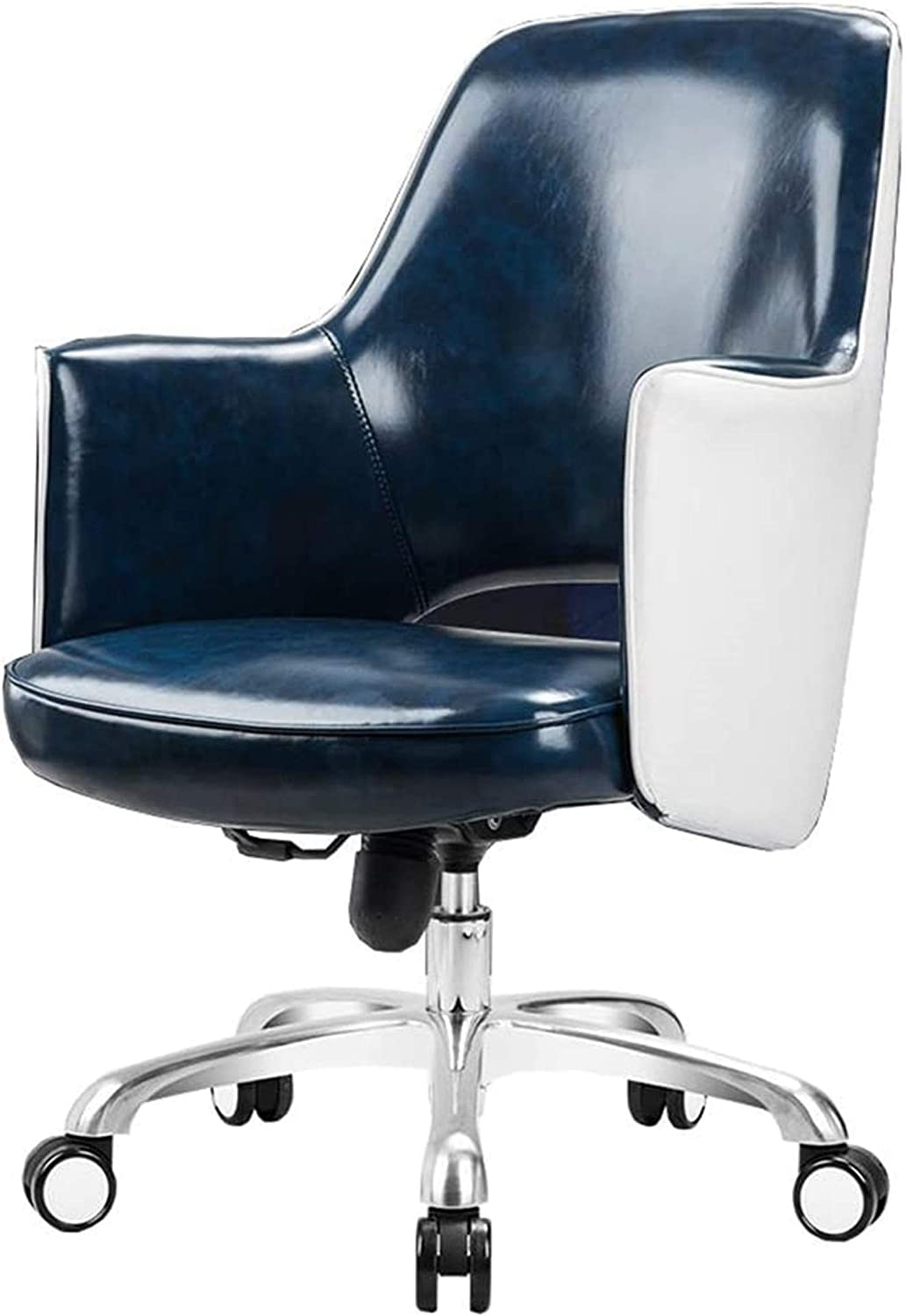 CLOTHES Gaming Chair Office Chair, Waterproof Leather Lounge Chair, Stylish Swivel Chair, U-Shaped Back/Ergonomic Design, High Resilience Mat (Blue, Brown, Black),Desk Chair (Color : Blue)