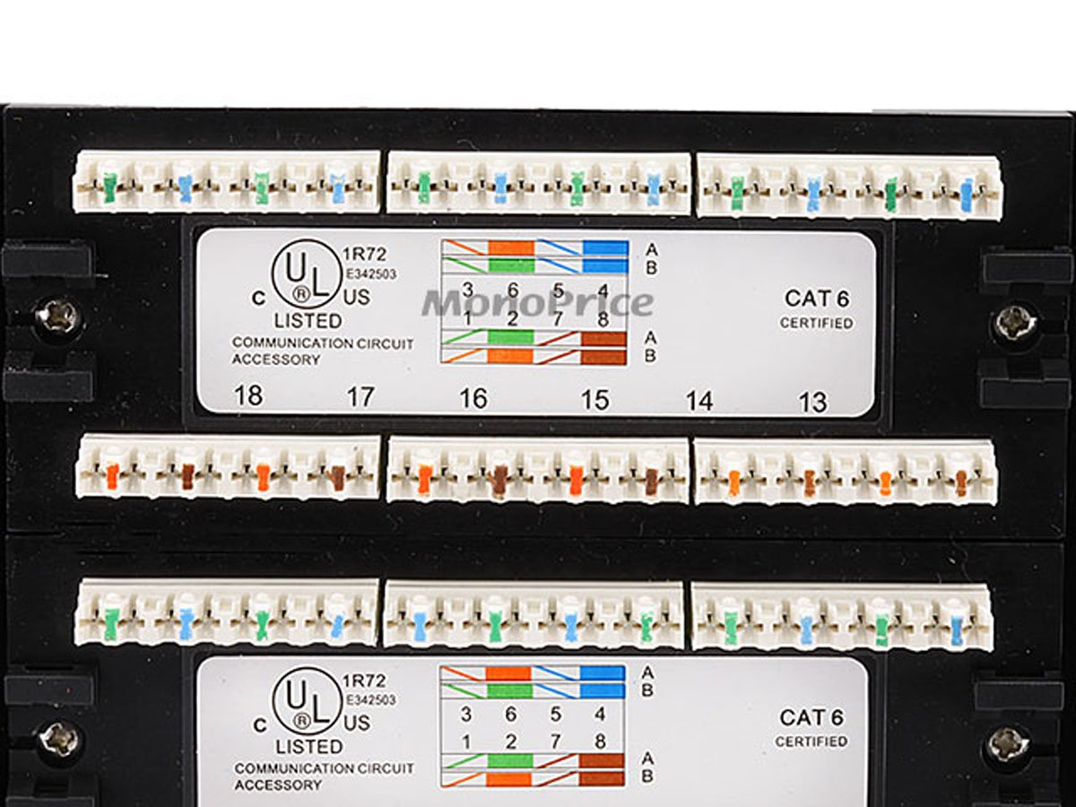 Amazon Com Monoprice 107253 110 Type 24 Port Cat6 Patch Panel (568a Cat 5  Pinout Diagram Cat 6 583h Wiring Diagram