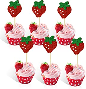 Strawberry Cupcake Topper Baby Girl Berry Theme Birthday Party Cake Decoration-pack of 24