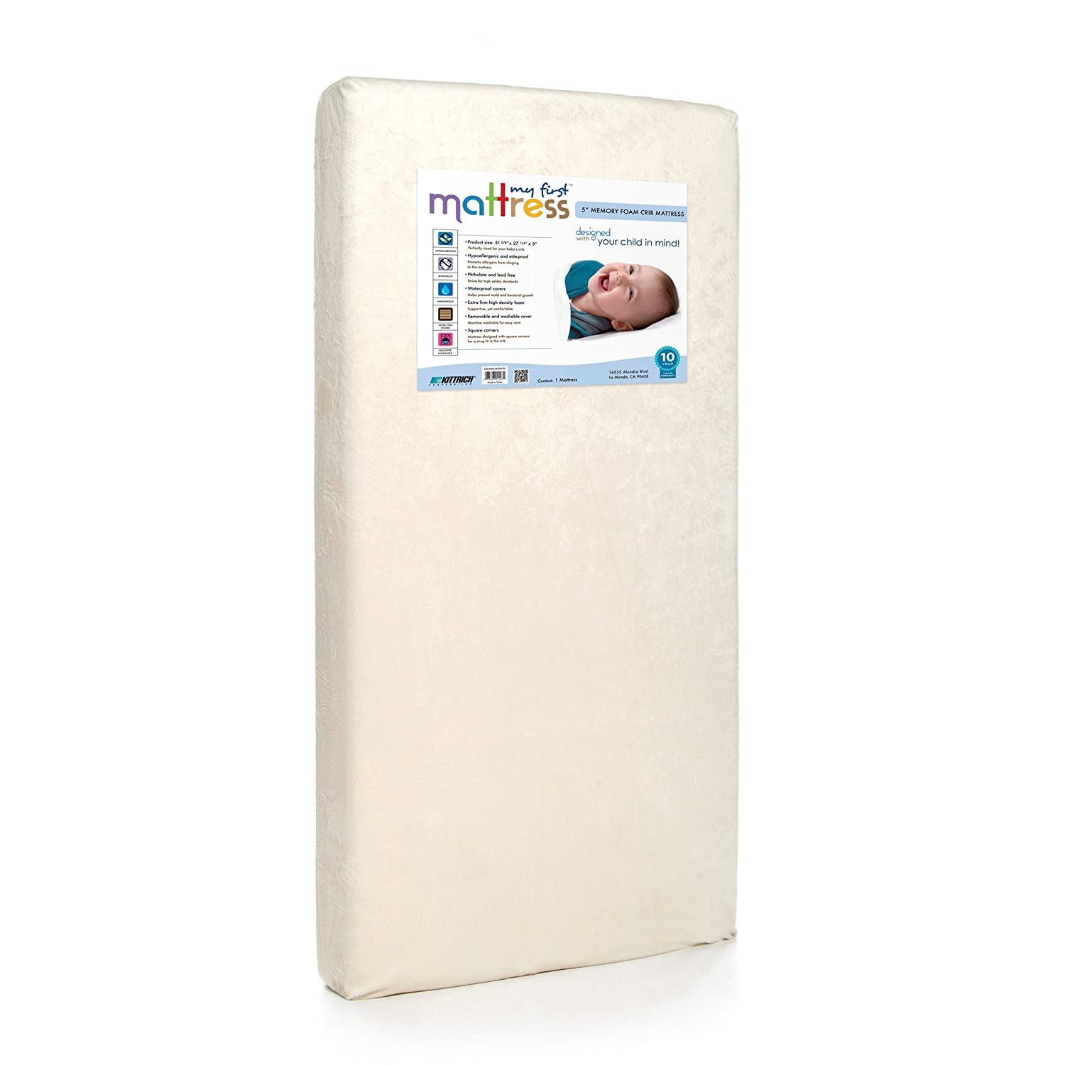 My First Mattress Premium Memory Foam Infant Crib Mattress with  Removable Waterproof Cover