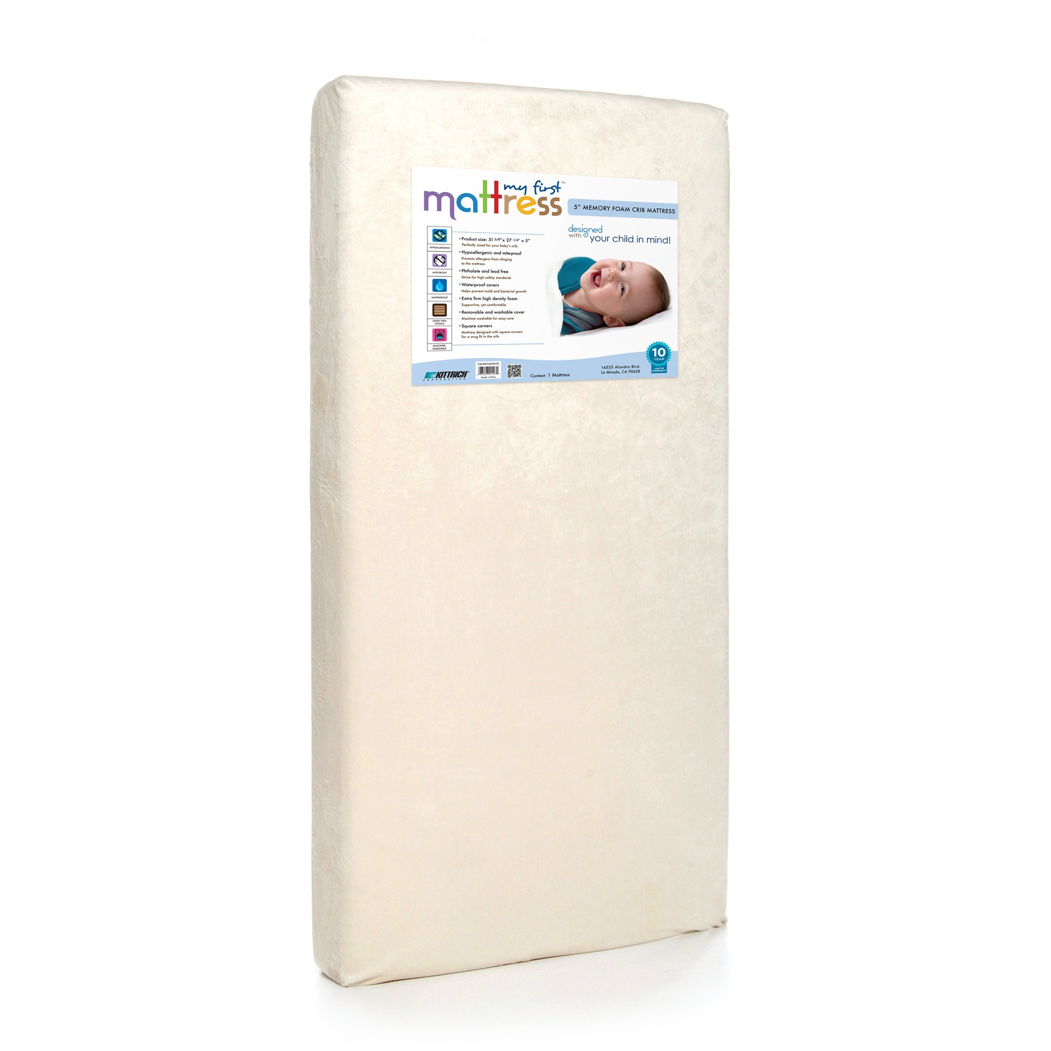 My First Crib Mattress, Breathable Memory Foam Crib Mattress with Removable Protective Waterproof Cover, Plush, and Hypoallergenic by My First Mattress