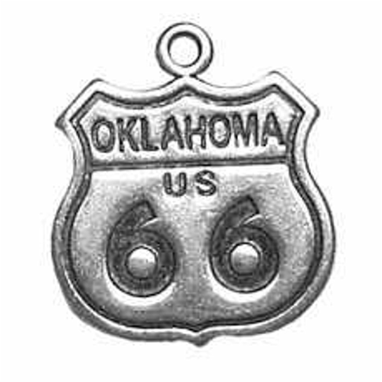 Sterling Silver Girls .8mm Box Chain Oklahoma Route 66 Sign Pendant Necklace