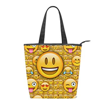 2058be737ee Amazon.com: Yellow Emojis Canvas Tote Bag Reusable with Inside ...