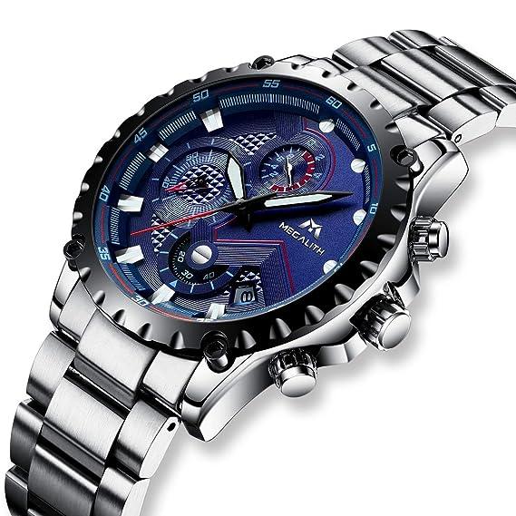 Relojes de Hombre Reloj Militar Cronógrafo Deportivo Impermeable Día Fecha Calendario Lujo Moda Relojes de Pulsera de Acero Inoxidable Multifuncion ...