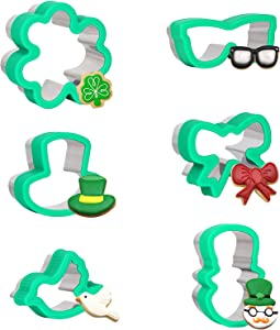 Sondiko Cookie Cutters for Kids, 6 Pcs Stainless Steel Sandwich Cutters Protect Hands, Shamrock & Hat & Glasses Lovely Shapes Biscuit Cutters for Tiny Baking, Durable and Reusable