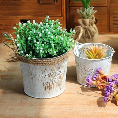 GYMAN Maceta de Jardín Vintage con Diseño de Flores, Cuerda de Yute/asa de Metal, para Decoración del hogar (Múltiples Combinaciones Son Opcionales), Large Twine Barrel, 4 Piezas: Amazon.es: Deportes y aire libre