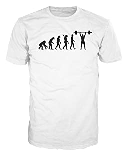 Dalesbury Weightlifting Evolution Funny T-Shirt (L, White)