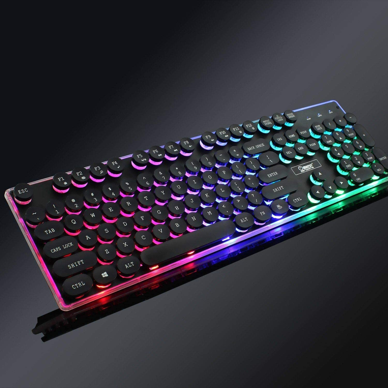RGB Typewriter Keyboard Retro Punk Keyboard 104 Keys Colorful Backlit Keyboard Anti-Slip Wheel USB and Round Keycaps for PC and Mac