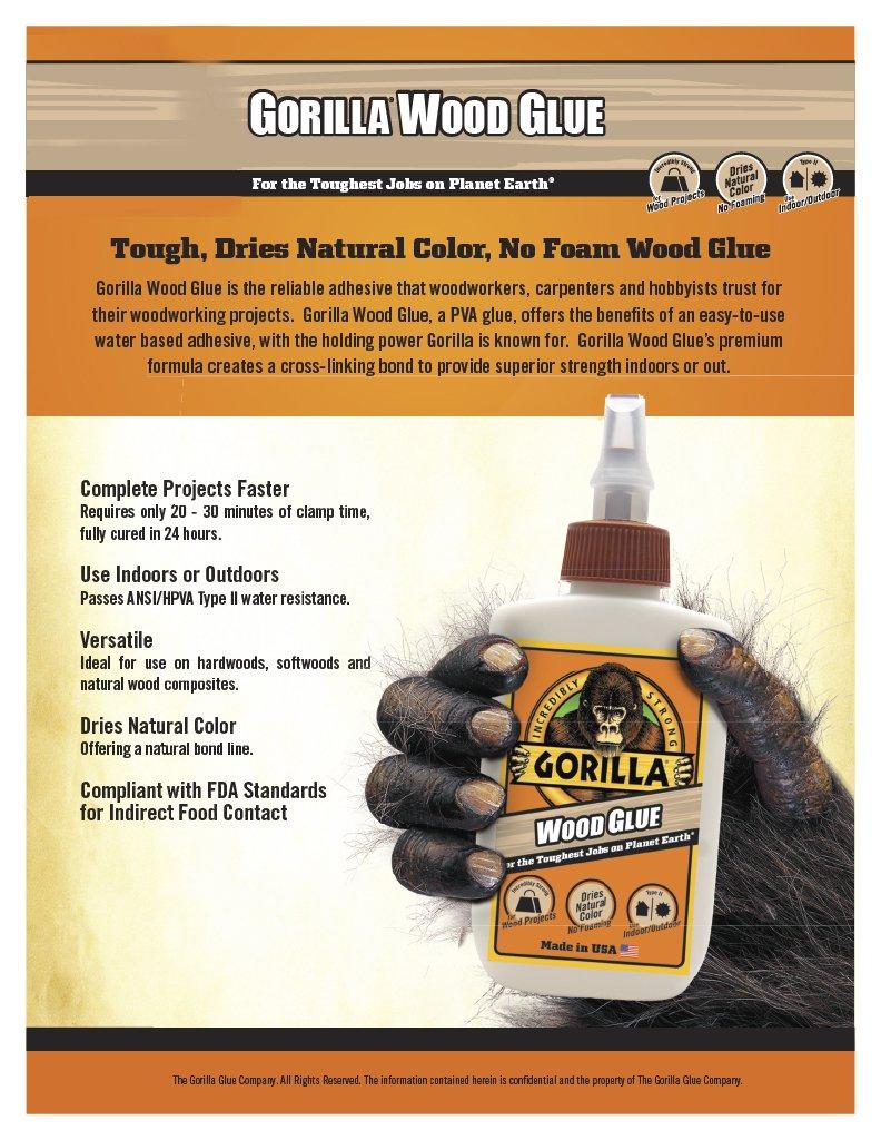 Gorilla 6200022-6 Wood Glue, 8 oz, (Pack of 6), 6- Pack 6 Piece by Gorilla (Image #2)