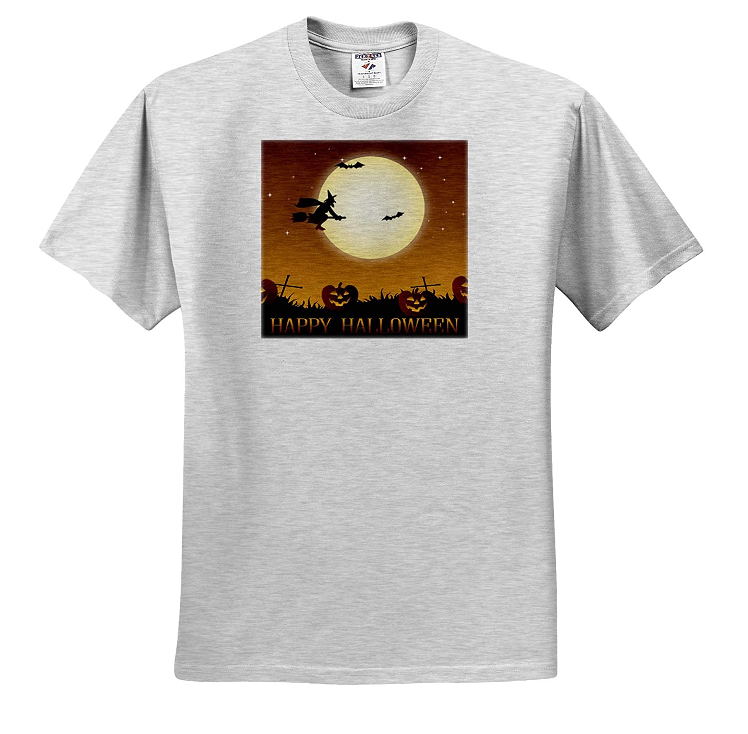 T-Shirts 3dRose Sven Herkenrath Celebration Happy Halloween with Witch and Bat Pumpkin
