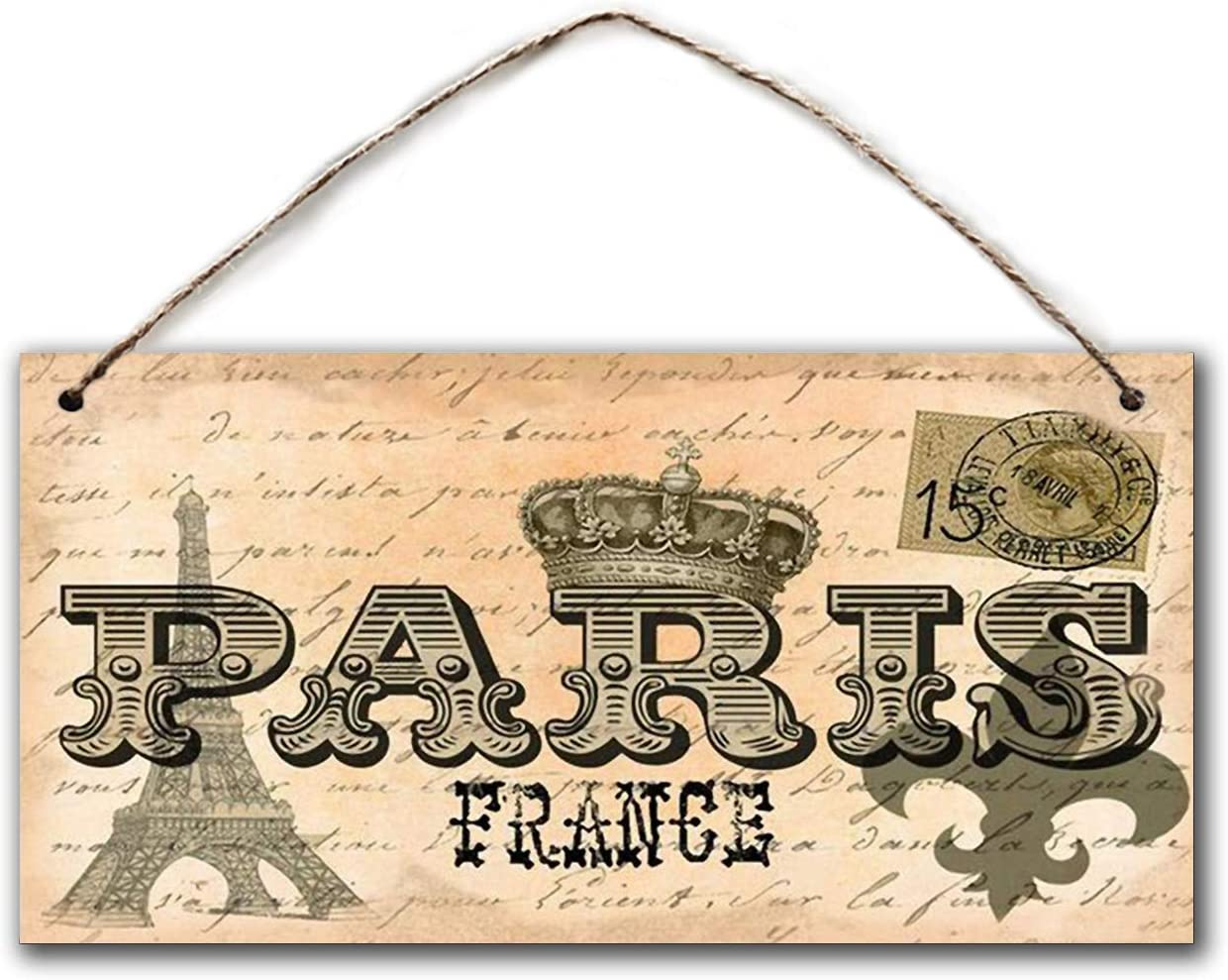"BESTWD Paris France Sign, Vintage Postcard Style, 5"" x 10"" Sign, Travel Decor, Houewarming Gift"