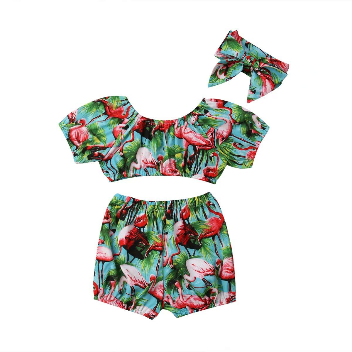 Kids Infant Baby Girls Summer 3Pcs Outfit Flamingo Printed Off Shoulder Crop Tops High Waist Shorts Headband Clothes Set