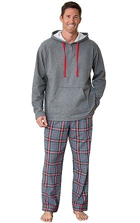 dbdfba455050 PajamaGram Mens Flannel Pajamas Sets - Warm Hooded Pajamas for Men ...