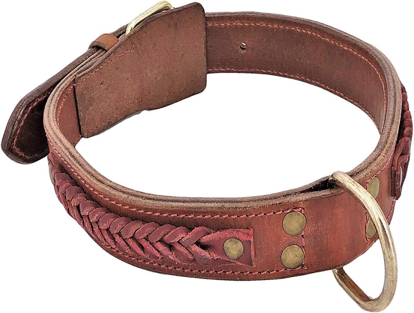 "XL 2/"" Width Genuine LEATHER Dog Collar Metal Buckle Medium Large RED WINE sz M"