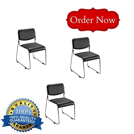 Nice Chairs Multi-Purpose Metallic Body Stackable Visitor Chair (Set of 3)