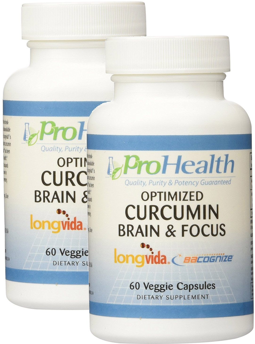 2-Pack Brain & Focus - Optimized Curcumin Longvida with BaCognize Bacopa Monnieri by ProHealth (60 veggie capsules)
