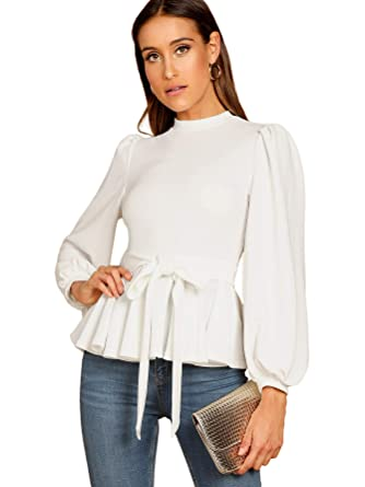 074b75c19b7eb8 Milumia Women's Bishop Sleeve Belted Stand Collar Ruffle Blouse Tops White  XS