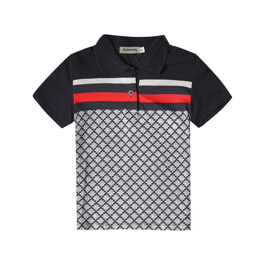 Budermmy Boys Turn-Down Collar Short Sleeve Polo Shirts Toddler Shirts Size 4t Black