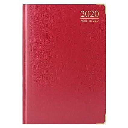 Agenda 2020, A4, tapa dura, vista semanal, borde dorado, de ...