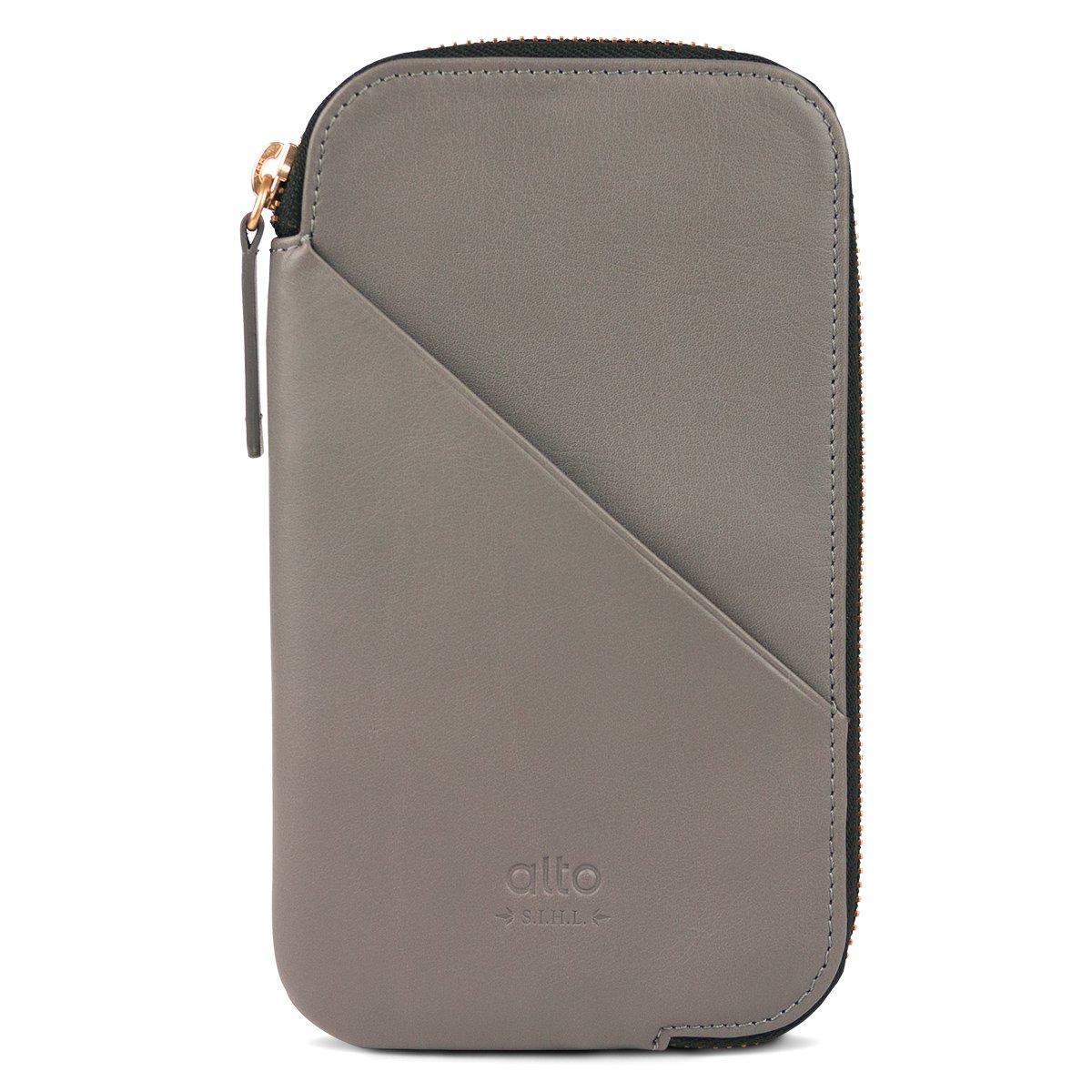 alto Handmade Premium Italian Leather for Apple iPhone 7 / iPhone 7 Plus / iPhone 8 / iPhone 8 Plus / iPhone X Travel Phone Wallet (Cement)