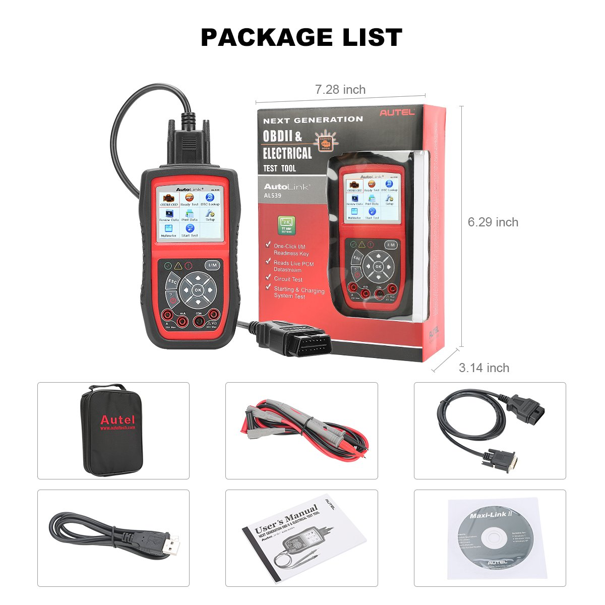 Autel AL539 Code Reader Scanner Scan Tool Car Electrical Tester with Full OBD2 Diagnoses and Avometer Function(Upgraded Version of AL519) by Autel (Image #7)