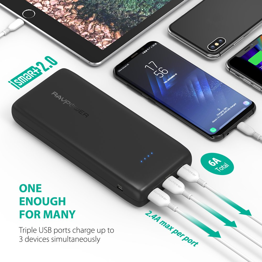 Portable Charger 32000 RAVPower 32000mAh Battery Pack 6A Output, USB Power Banks for iPhone Xs, iPhone X, Galaxy and More (3-Port, 2.4A Input, Triple iSmart 2.0 USB) by RAVPower (Image #3)