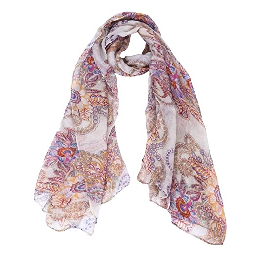 7b764566a4c Vintage Floral Print Scarf Women Cotton Neckerchief Soft Wrap Shawl Scarves  Muffle